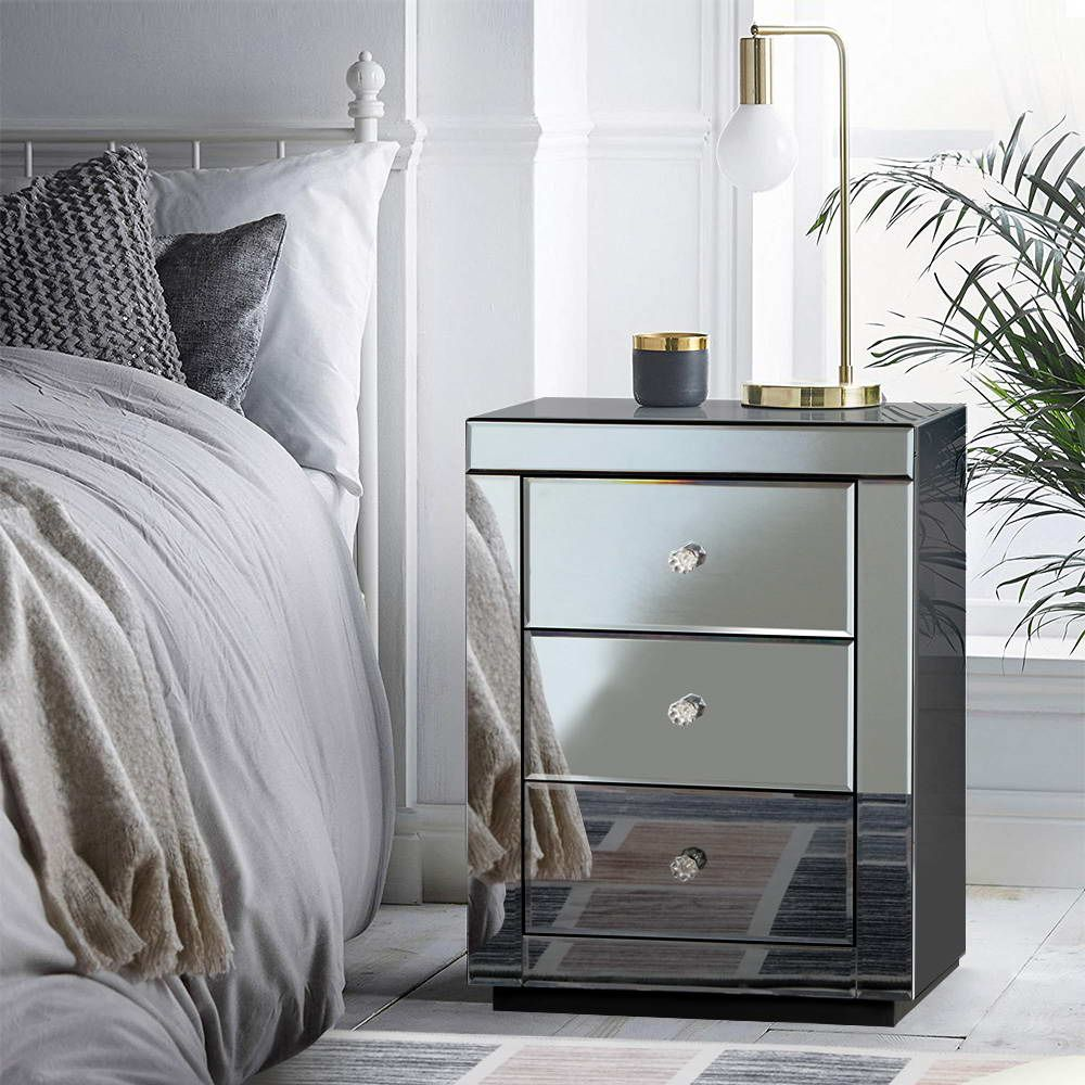 Bedside Table - Smokey Glass