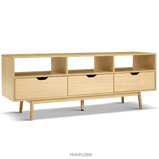 TV Cabinet Triple Storage Wooden Entertainment Unit - Natural