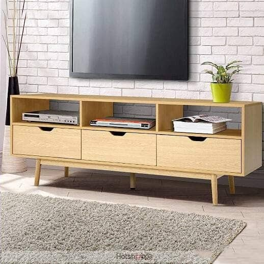 TV Cabinet Triple Storage Wooden Entertainment Unit