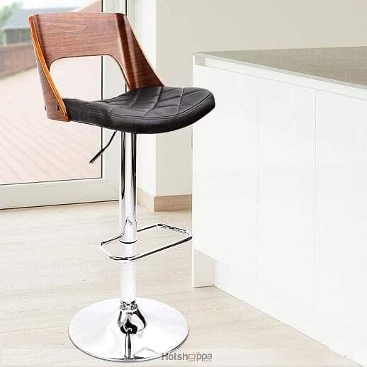 Wooden Bar Stool Black Padded Seat - Set of 2