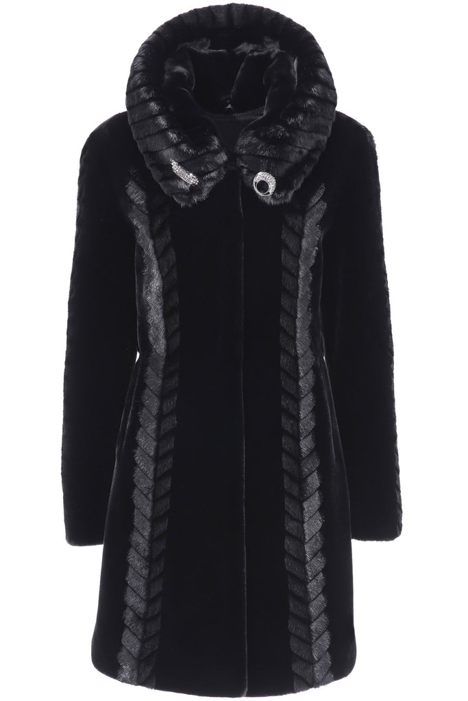 CHEVELLE SLEEK LINES COUTURE BLACK SHARED MINK FAUX FUR COAT - Adelaqueen - 1