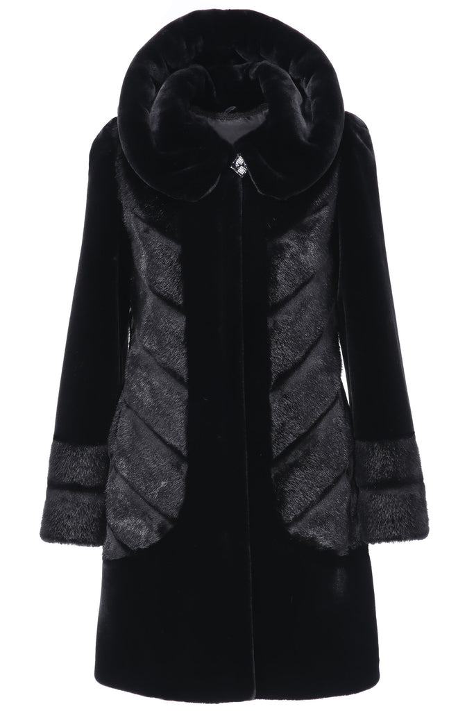 CARLYNDA BLACK MINK FAUX FUR COAT WITH COUTURE PATTERN - Adelaqueen - 1