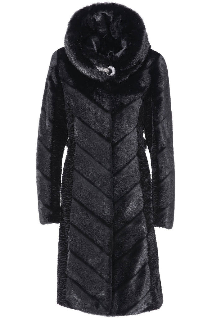 KENISHA STYLE LUXURY BLACK MINK MIDDLE LENGTH FAUX FUR COAT - Adelaqueen - 1