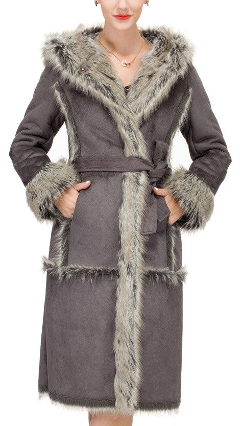 Lush Grey Suede Faux Leather Coat Crafted with Faux Fox Fur - Adelaqueen - 1