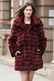 Red & Black Wave Stripe Lush Chinchilla Faux Fur Coat - Adelaqueen - 1