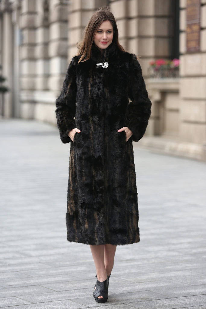 Black Elegant and Vintage Mink Fabulous Faux Fur Coat - Adelaqueen - 1