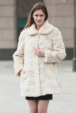 Beige Trimmed Mink Faux Fur Strip & Block Style Lapel Coat - Adelaqueen - 1
