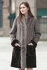 Grey Faux Suede Fur Border with Sheard Mink Lower Hem Coat - Adelaqueen - 1
