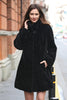Persian Lamb Fabulous Faux Fur Coat Stylish Black - Adelaqueen - 1