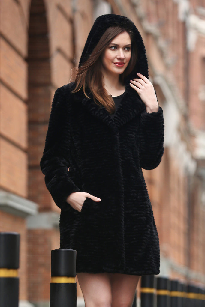 Persian Lamb Fabulous Faux Fur Coat Black With Hood