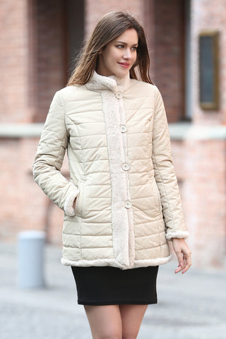 Beige Trimmed Mink Faux Fur Strip & Block Style Lapel Coat