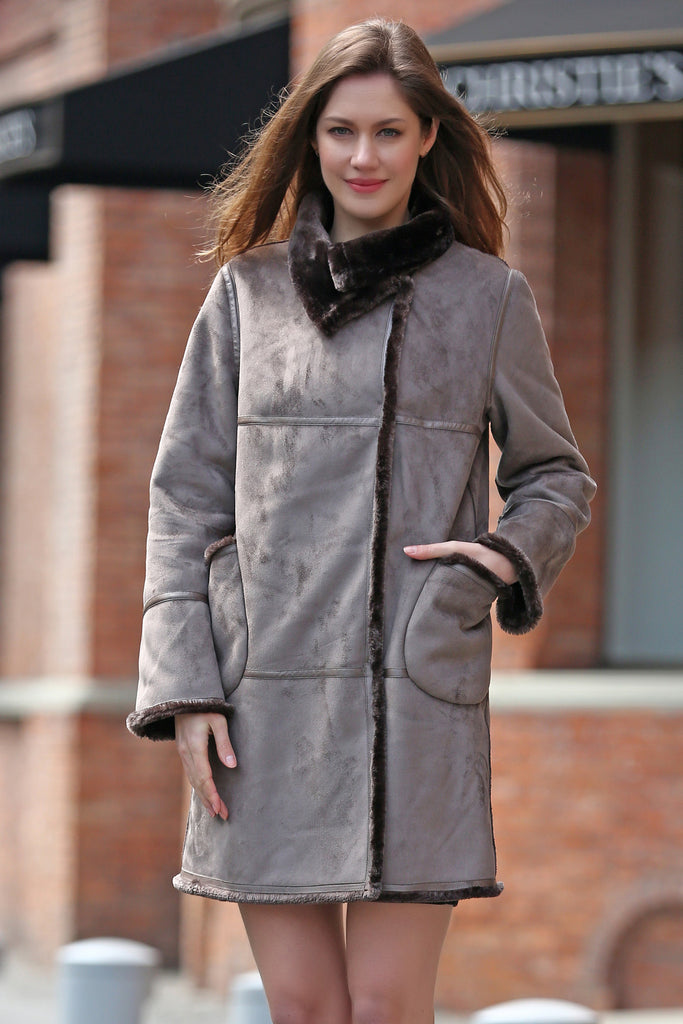 Grey Faux Suede Leather Pea Coat Lining with Lush Faux Fur - Adelaqueen - 1