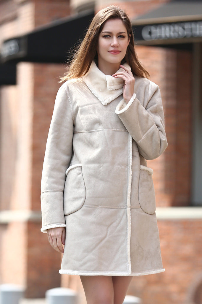Beige Faux Suede Leather Pea Coat Lining with Lush Faux Fur - Adelaqueen - 1