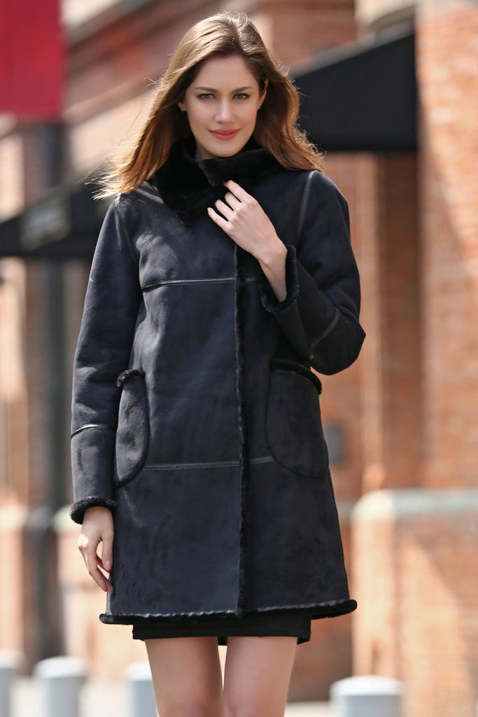 Black Faux Suede Leather Pea Coat Lining with Lush Faux Fur - Adelaqueen - 1
