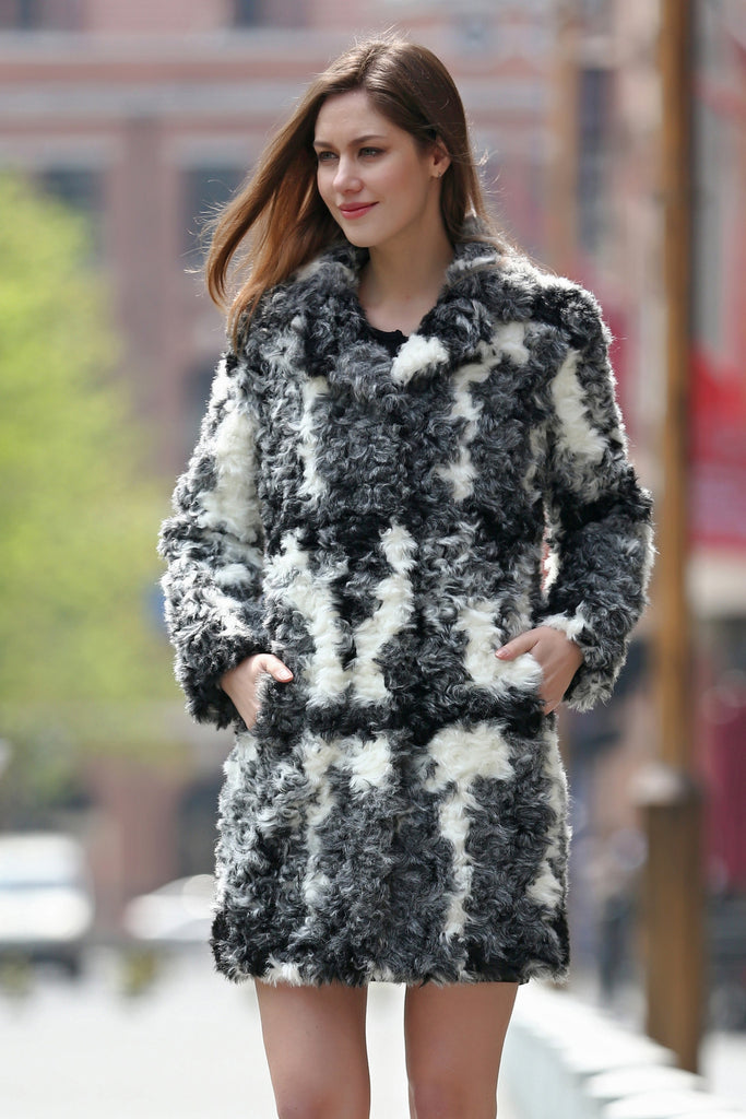 Black White Grey Notched Collar Lush Faux Fur Wool Coat - Adelaqueen - 1