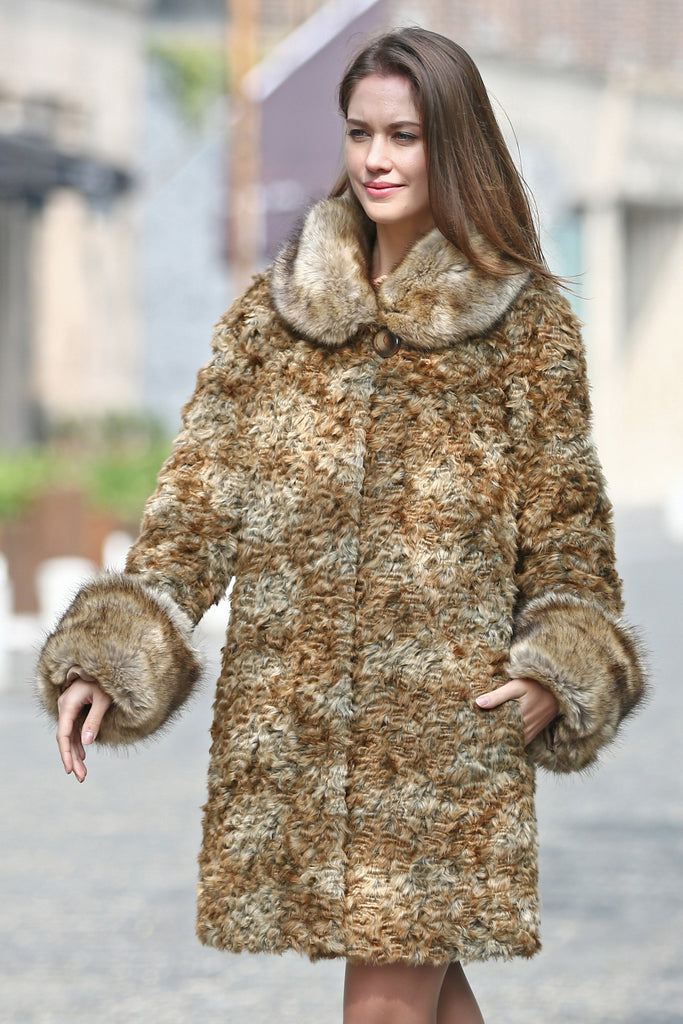 Brown Thick Persian Lamb Faux Fur Coat Faux Raccoon Collar - Adelaqueen - 1