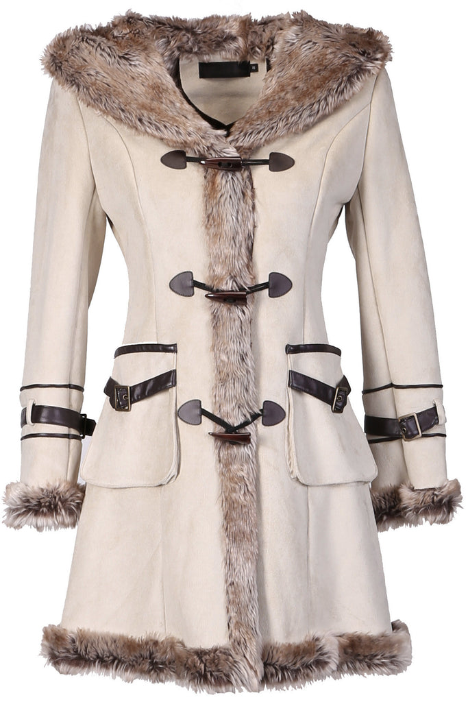 BEIGE FAUX SHEARLING COAT WITH HORN BUTTON AND HOOD - Adelaqueen - 1
