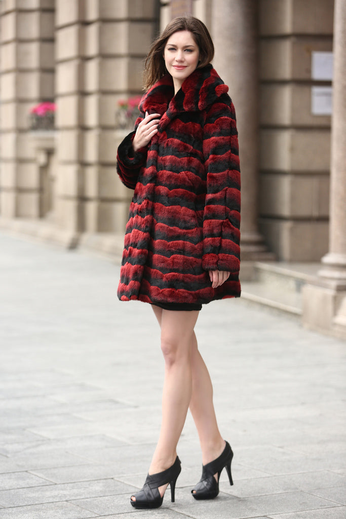 Red & Black Wave Stripe Lush Chinchilla Faux Fur Coat - Adelaqueen - 2