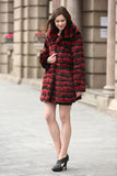 Red & Black Wave Stripe Lush Chinchilla Faux Fur Coat - Adelaqueen - 4