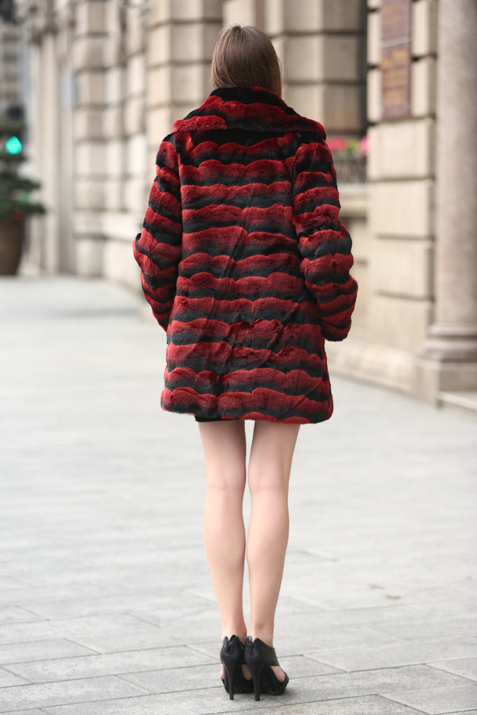 Red & Black Wave Stripe Lush Chinchilla Faux Fur Coat - Adelaqueen - 6