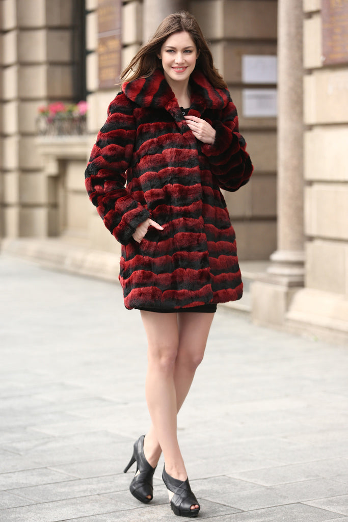 Red & Black Wave Stripe Lush Chinchilla Faux Fur Coat - Adelaqueen - 3