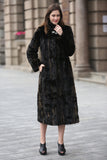 Black Elegant and Vintage Mink Fabulous Faux Fur Coat - Adelaqueen - 4
