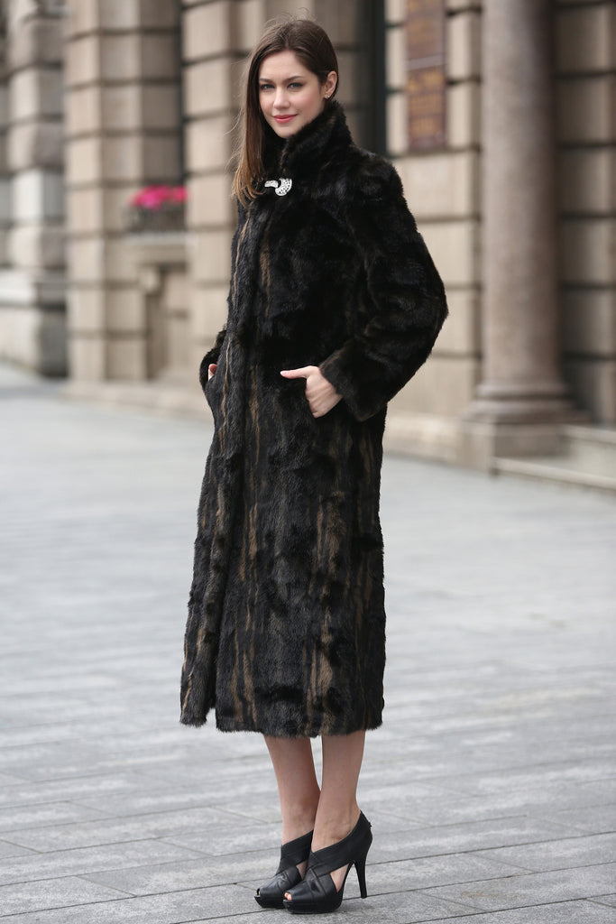 Black Elegant and Vintage Mink Fabulous Faux Fur Coat - Adelaqueen - 5