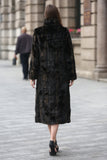 Black Elegant and Vintage Mink Fabulous Faux Fur Coat - Adelaqueen - 6