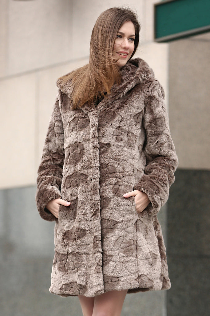 Brown Rex Rabbit & Mink Blending Faux Fur Hooded Coat - Adelaqueen - 1