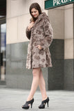 Brown Rex Rabbit & Mink Blending Faux Fur Hooded Coat - Adelaqueen - 2