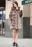 Brown Rex Rabbit & Mink Blending Faux Fur Hooded Coat - Adelaqueen - 3