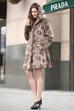 Brown Rex Rabbit & Mink Blending Faux Fur Hooded Coat - Adelaqueen - 4