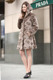 Brown Rex Rabbit & Mink Blending Faux Fur Hooded Coat - Adelaqueen - 5