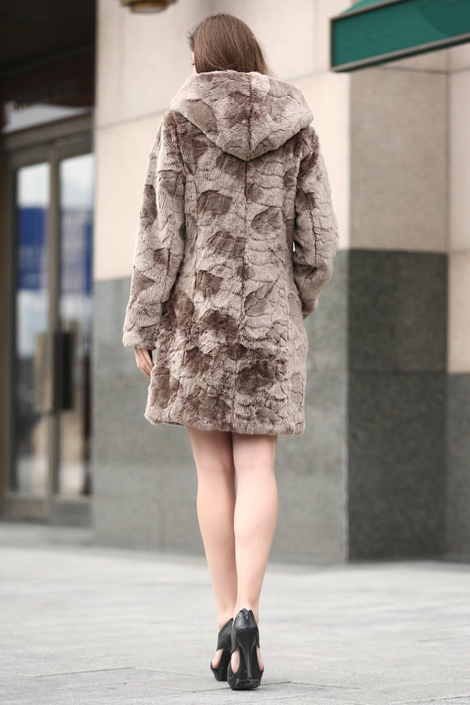 Brown Rex Rabbit & Mink Blending Faux Fur Hooded Coat - Adelaqueen - 7