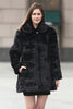 Black Trimmed Mink Faux Fur Strip & Block Style Lapel Coat - Adelaqueen - 1