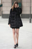 Black Trimmed Mink Faux Fur Strip & Block Style Lapel Coat - Adelaqueen - 3