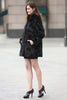 Black Trimmed Mink Faux Fur Strip & Block Style Lapel Coat - Adelaqueen - 5