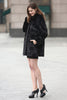 Black Trimmed Mink Faux Fur Strip & Block Style Lapel Coat - Adelaqueen - 6