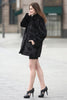 Black Trimmed Mink Faux Fur Strip & Block Style Lapel Coat - Adelaqueen - 7