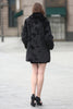 Black Trimmed Mink Faux Fur Strip & Block Style Lapel Coat - Adelaqueen - 8