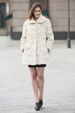 Beige Trimmed Mink Faux Fur Strip & Block Style Lapel Coat - Adelaqueen - 2