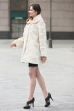 Beige Trimmed Mink Faux Fur Strip & Block Style Lapel Coat - Adelaqueen - 3
