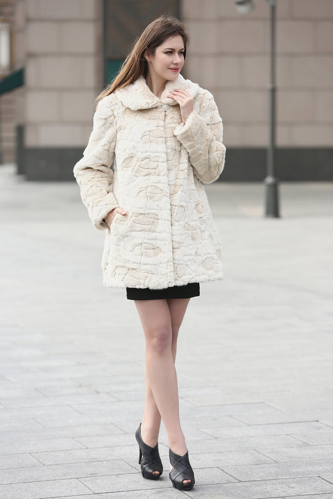 Beige Trimmed Mink Faux Fur Strip & Block Style Lapel Coat - Adelaqueen - 4