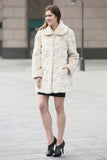 Beige Trimmed Mink Faux Fur Strip & Block Style Lapel Coat - Adelaqueen - 5