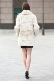 Beige Trimmed Mink Faux Fur Strip & Block Style Lapel Coat - Adelaqueen - 6