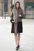 Grey Faux Suede Fur Border with Sheard Mink Lower Hem Coat - Adelaqueen - 2