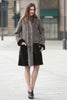 Grey Faux Suede Fur Border with Sheard Mink Lower Hem Coat - Adelaqueen - 3
