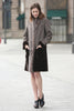 Grey Faux Suede Fur Border with Sheard Mink Lower Hem Coat - Adelaqueen - 4