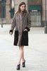 Grey Faux Suede Fur Border with Sheard Mink Lower Hem Coat - Adelaqueen - 5