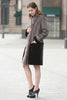 Grey Faux Suede Fur Border with Sheard Mink Lower Hem Coat - Adelaqueen - 6